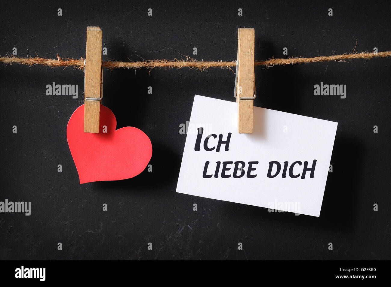 Heart With Ich Liebe Dich Poster Hanging With Blackboard Background Stock Photo Alamy