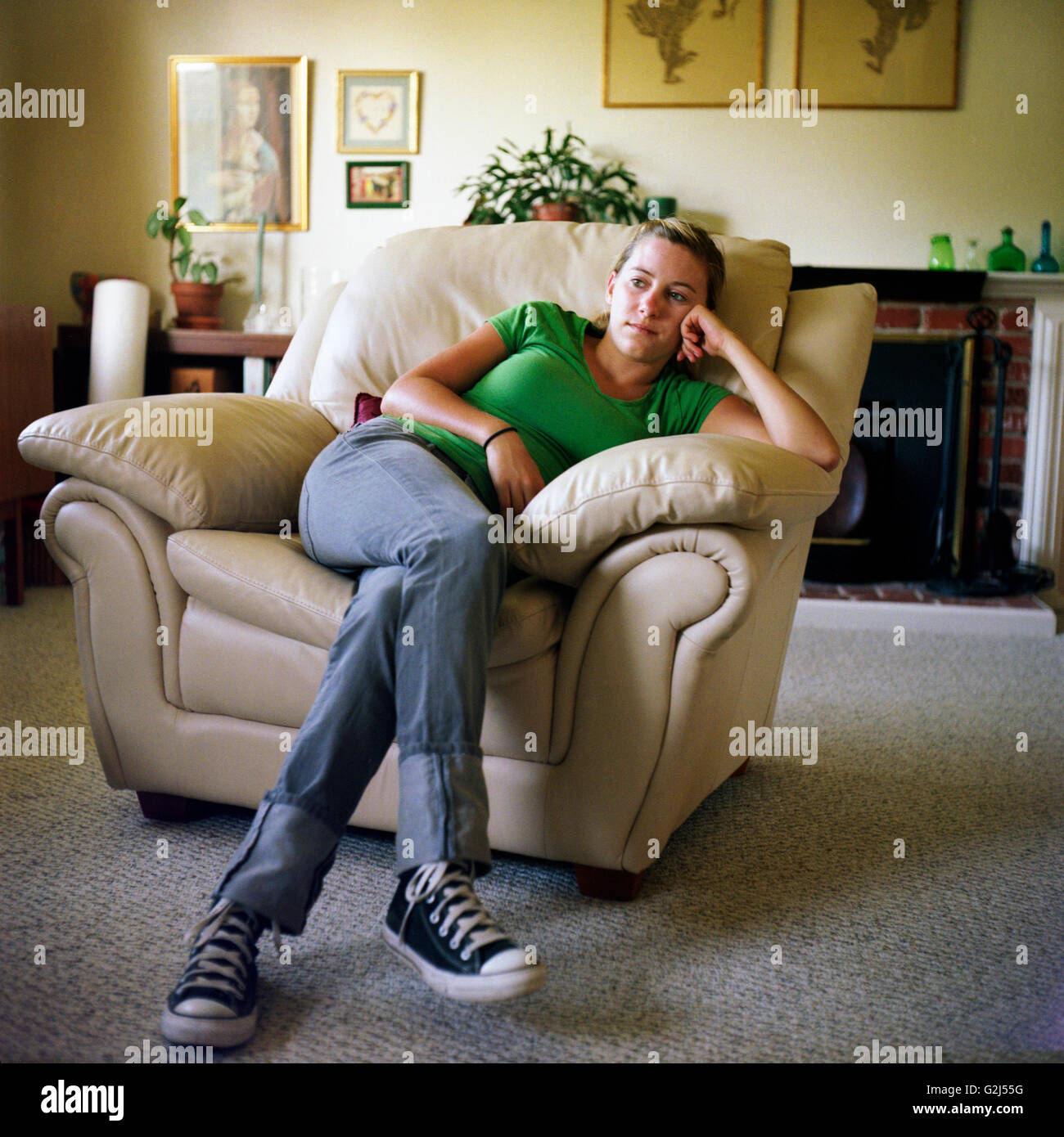 Teen Girl Chairs Bored Teen Girl Sitting In Easy Chair Stock Photo