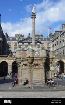 Scotland Edinburgh Mercat Cross With City Chambers