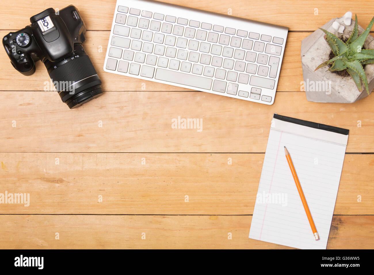 Flat lay creative working desk work office Stock Photo
