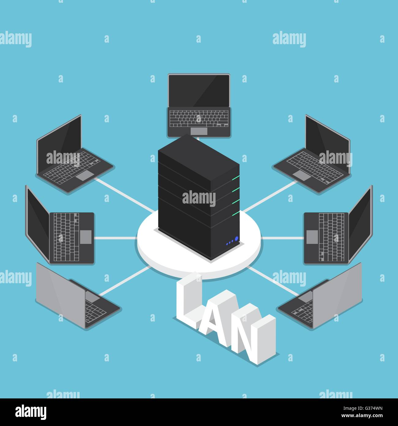 hight resolution of isometric lan network diagram computer network and technology concept