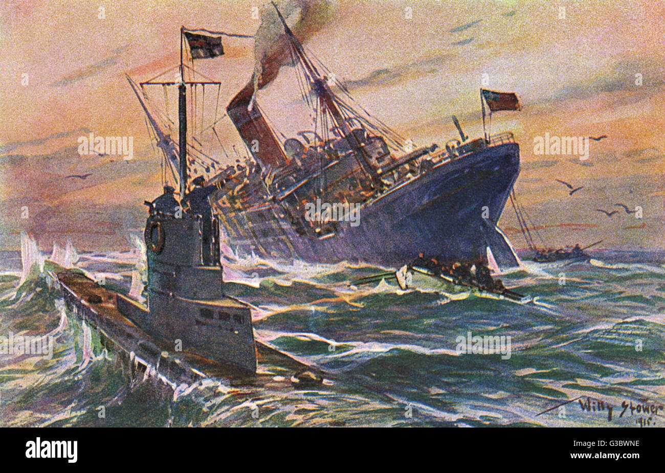 hight resolution of wwi german u boat attack on an english commercial freighter date 1915