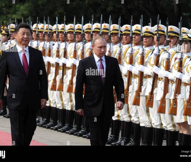 Beijing China 25th June 2016 Chinese President Xi Jinping Escorts Russian President Vladimir Putin For A Review Of The Honor Guard During The Formal