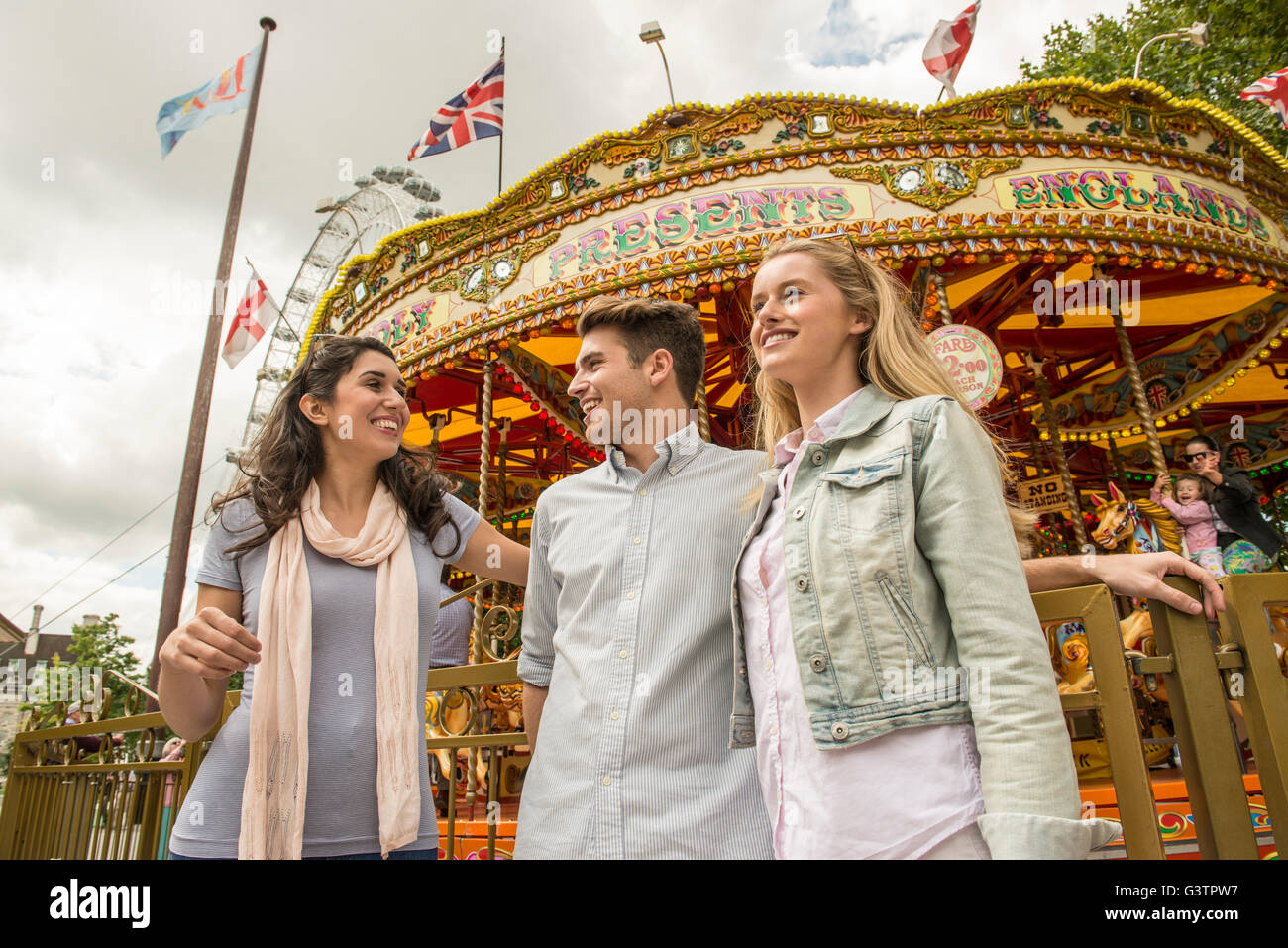 revolving chair thames rustic wingback carousel on the south bank stock photos and