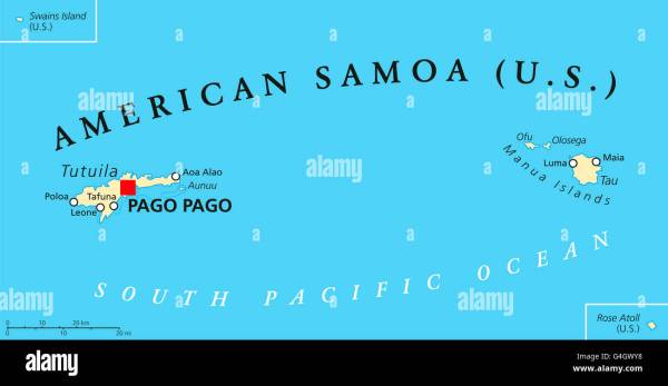 American Samoa political map with capital Pago Pago is an