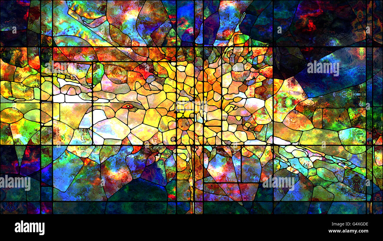 Stained Glass Series Composition Of Colorful Stained Glass Patterns Stock Photo Alamy