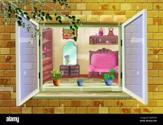 window interior cartoon room background illustration digital painting character carpet alamy fairy floor shopping