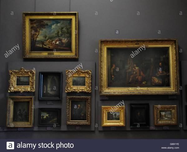 Paintings Louvre Museum In Paris Stock