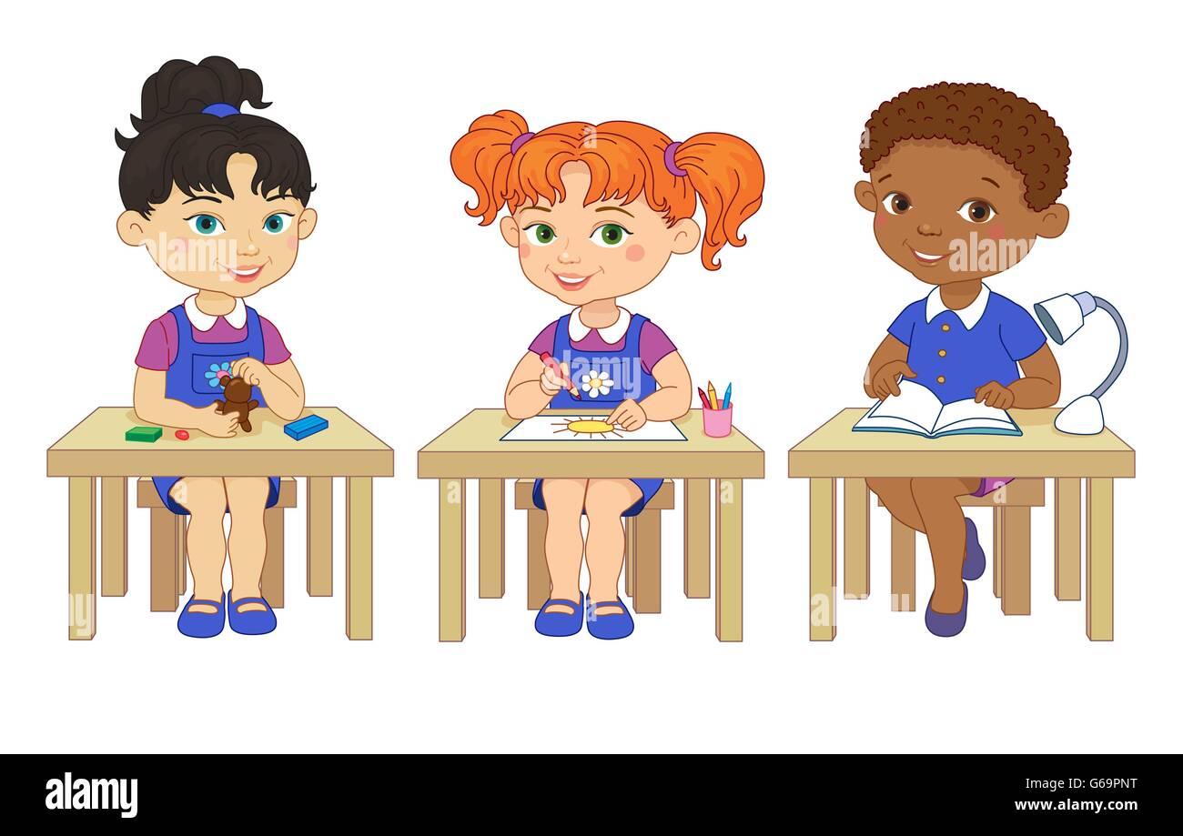 Funny pupils sit on desks read draw clay cartoon