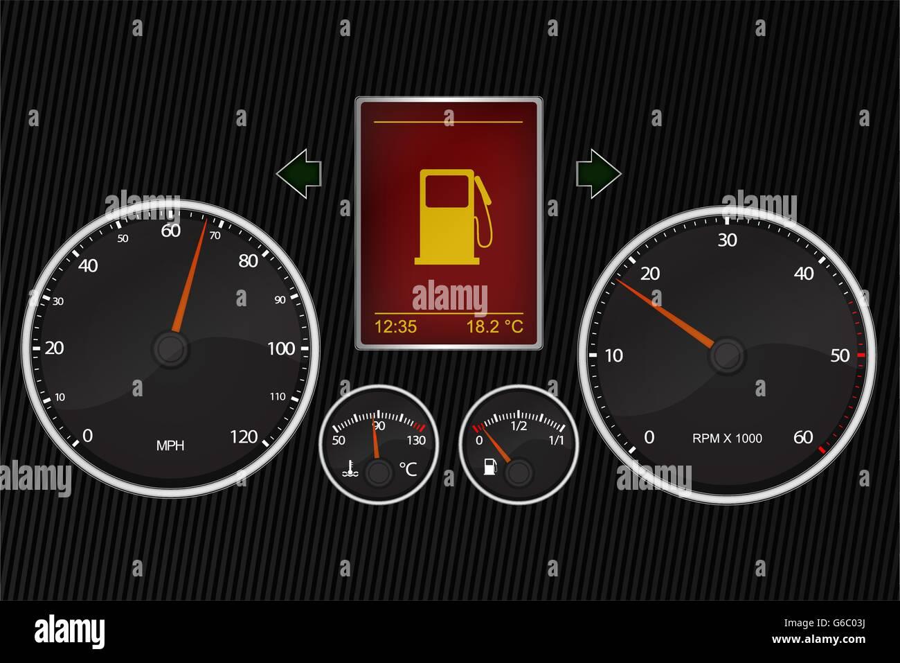 Vector Illustration Of Car Instrument Panel Stock Vector