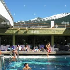 Magellan Fishing Chair Royal Blue Slipper Cruise Ship Swimming Pool Mountains Stock Photos And