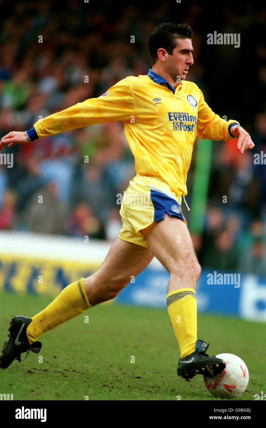 United football player eric cantona, showing career record with stats,. Eric Cantona Leeds United Stock Photo Alamy