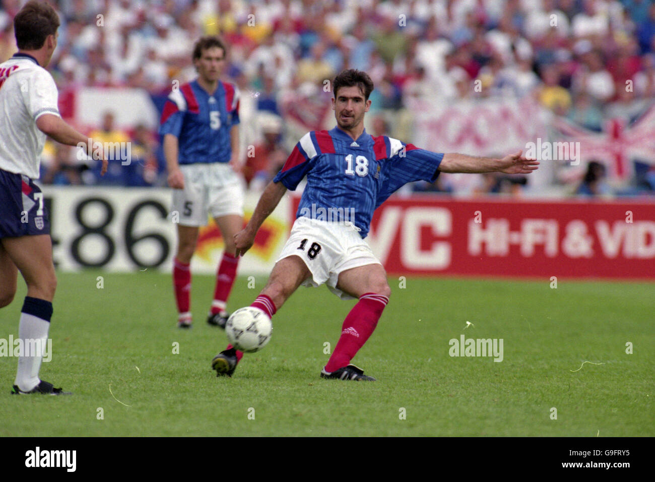 After spending two years with the french youth team auxerre, eric cantona bio as a proffesional soccer player starts with debut for auxerre on november 5th,. Soccer Euro 92 Sweden Group 1 England V France Malmo Stadion Malmo Eric Cantona France Stock Photo Alamy