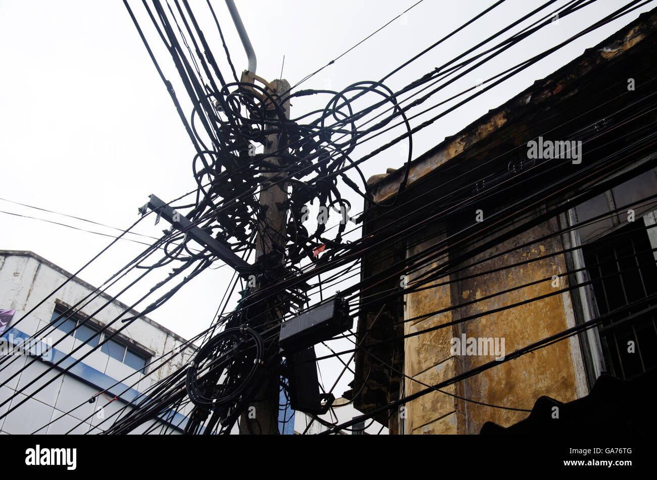 hight resolution of many wires messy with power line cables transformers and phone lines on old electricity pillar