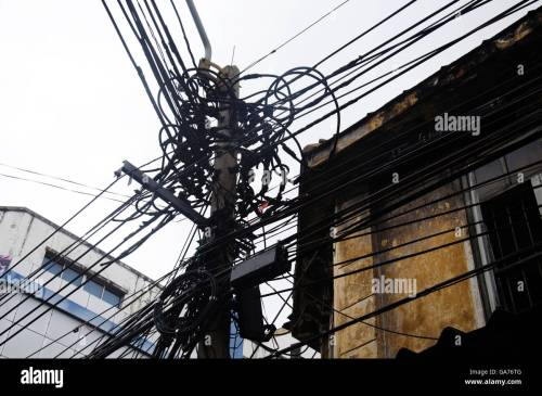 small resolution of many wires messy with power line cables transformers and phone lines on old electricity pillar
