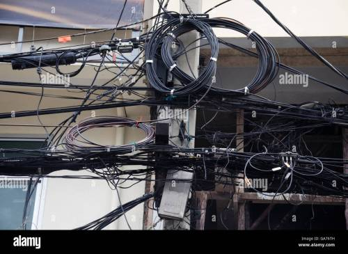 small resolution of many wires messy with power line cables transformers and phone lines on old electricity pillar or utility pole at beside road a