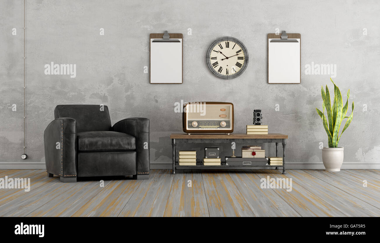 retro living room coffee table photo of design vintage with black armchair and old radio on 3d rendering
