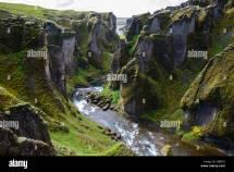 River Fjadra Canyon Fjadrargljufur Iceland Stock
