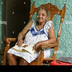 Old Lady Chair On Wheels Woman Rocking Stock Photos And