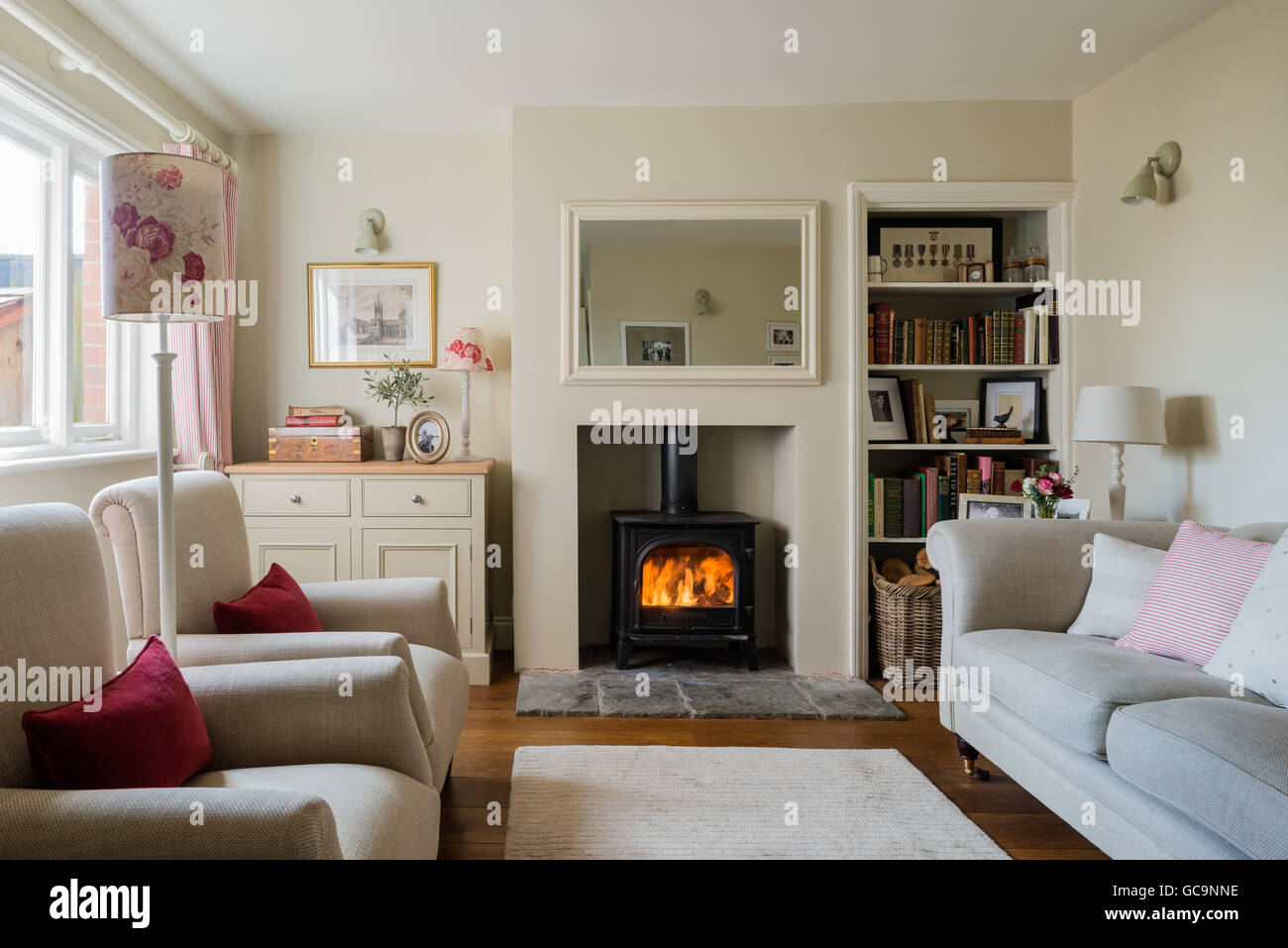 living room with log burner interior design photos india cosy cottage sitting wood burning stove and linen stock upholstered sofa
