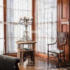 Fitted Dining Chair Covers Australia Cow Hide Chairs Bay Window Curtains Stock Photos & Images - Alamy