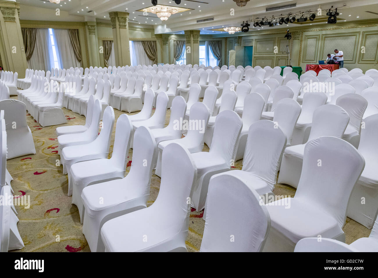 chairs wedding hall desk chair yellow white in stock photos and