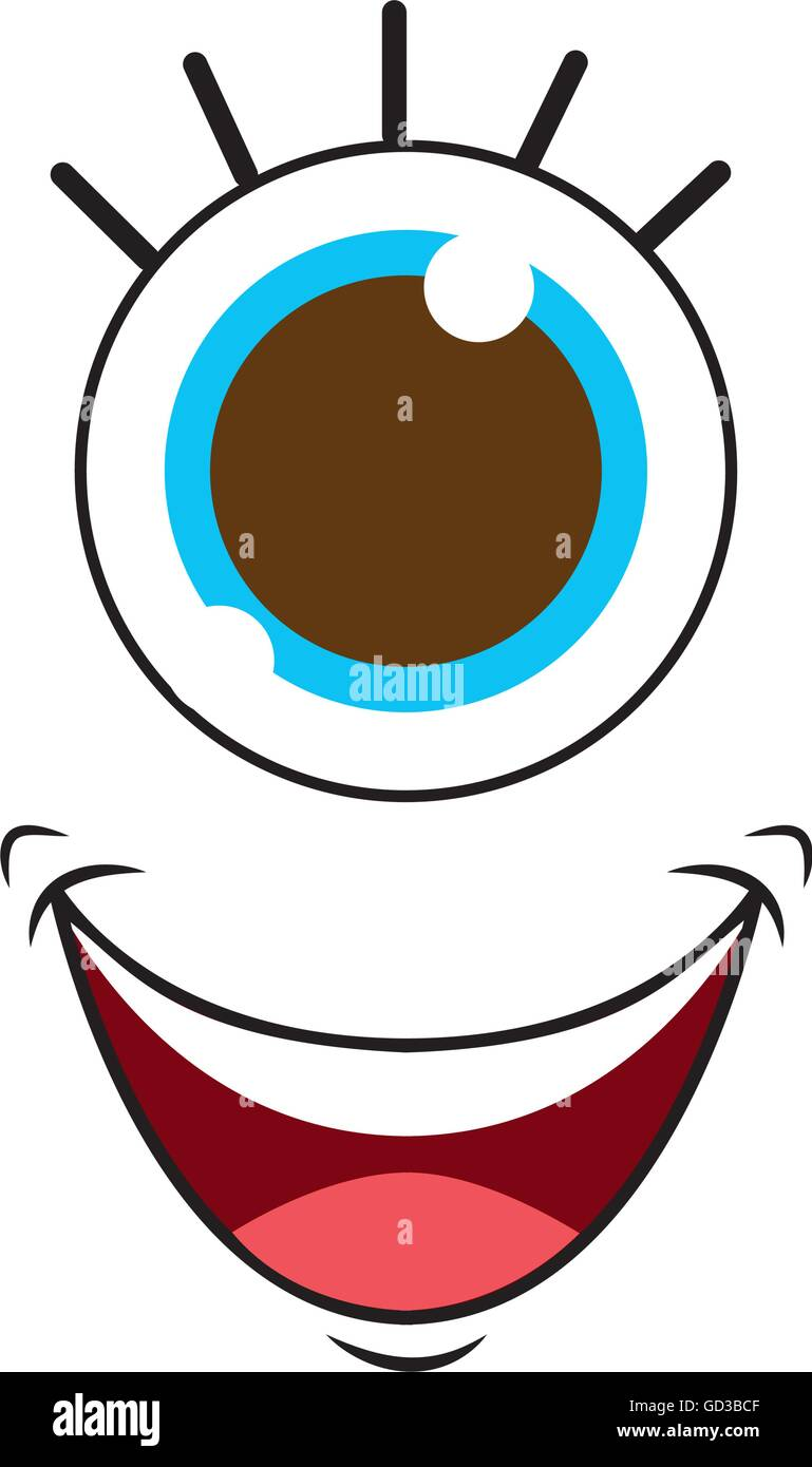 hight resolution of monster face with one eye isolated icon design stock image
