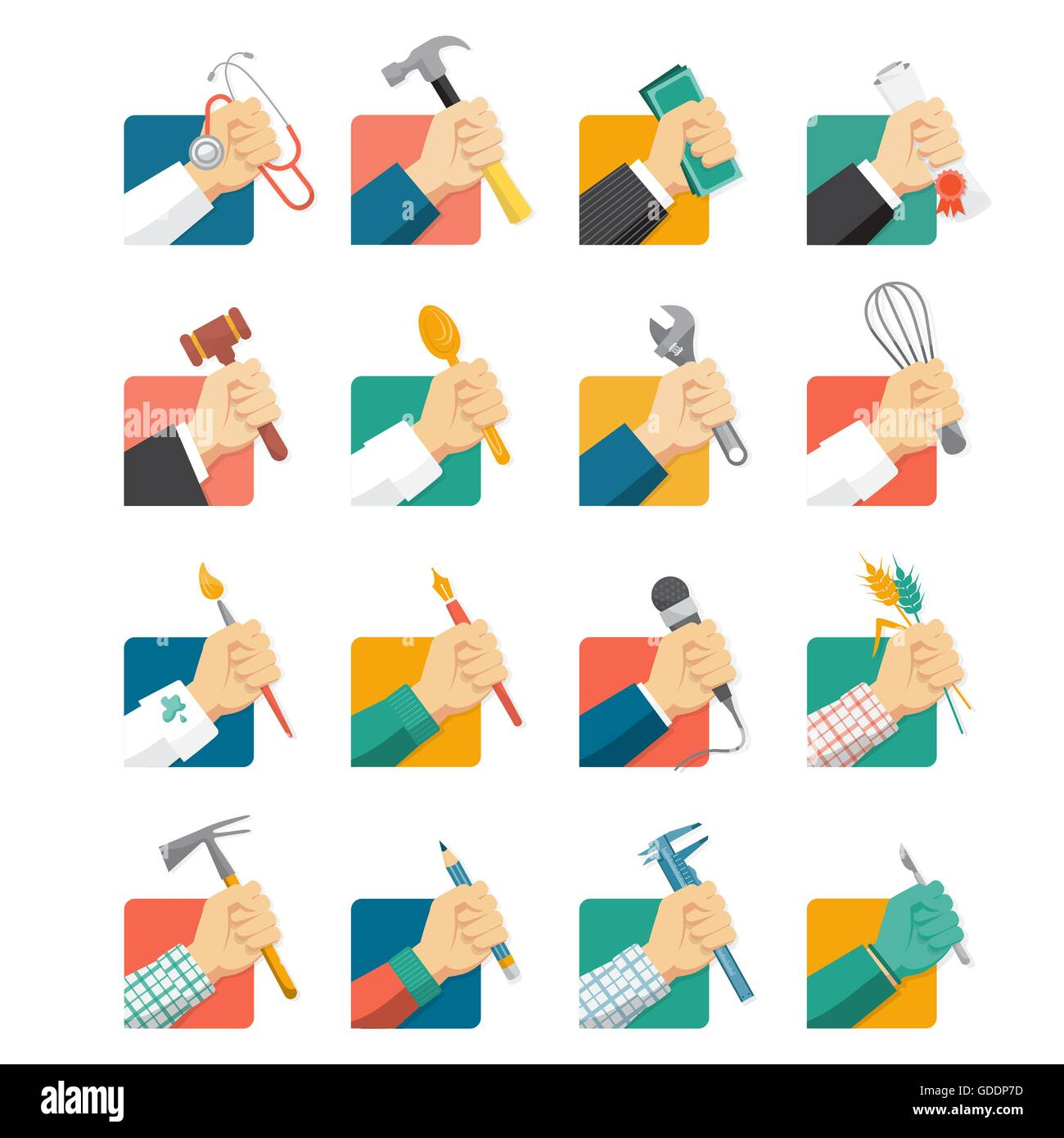 Jobs Avatar Icons Set With Hands And Tools Stock Vector