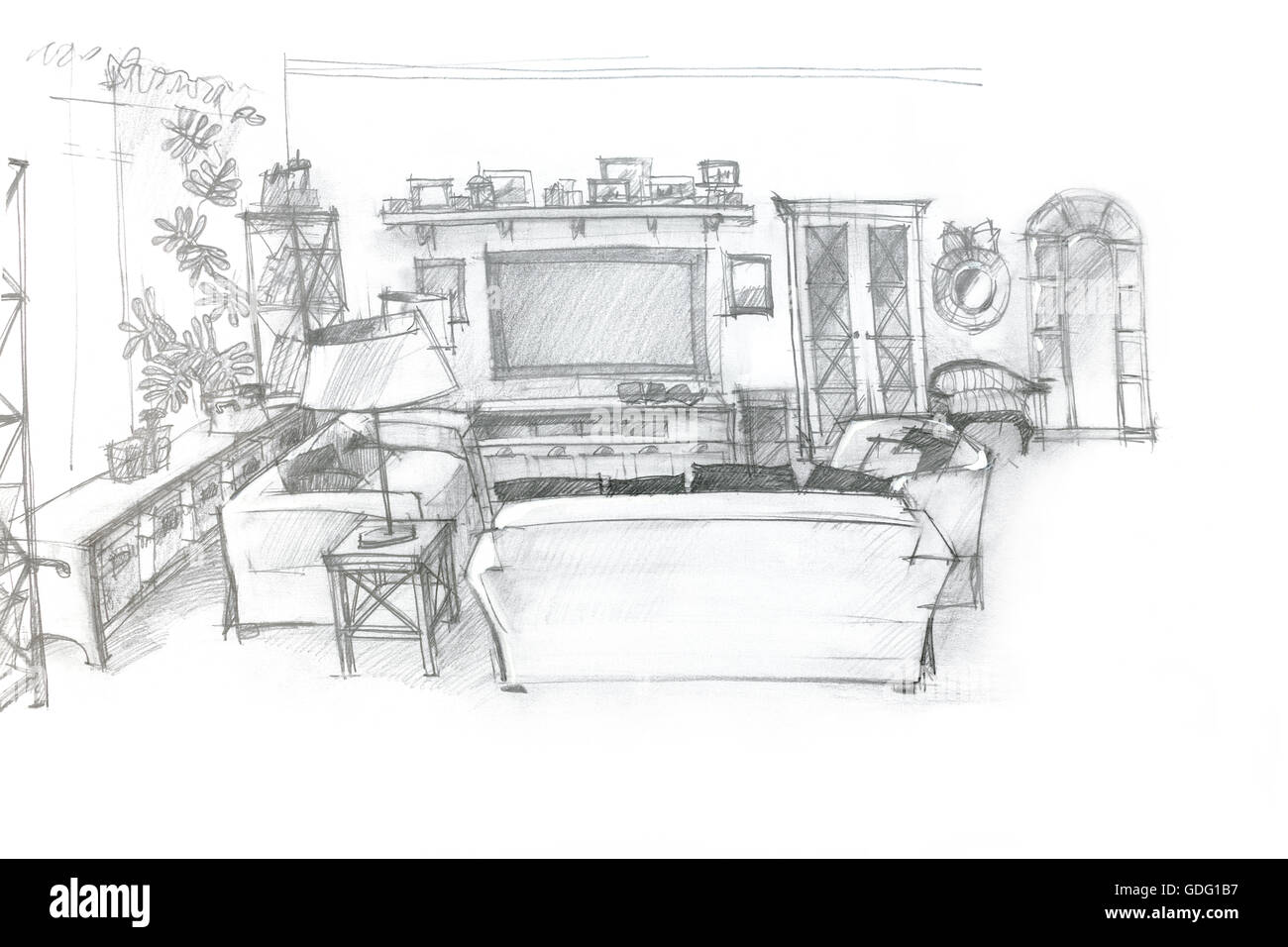 freehand sketch perspective architectural drawing of