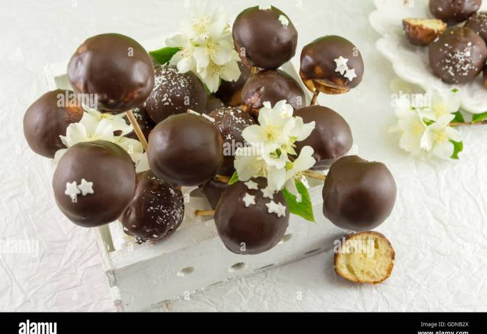 Bunch Of Chocolate Cake Pops In A Wooden Box Stock Photo 111722434