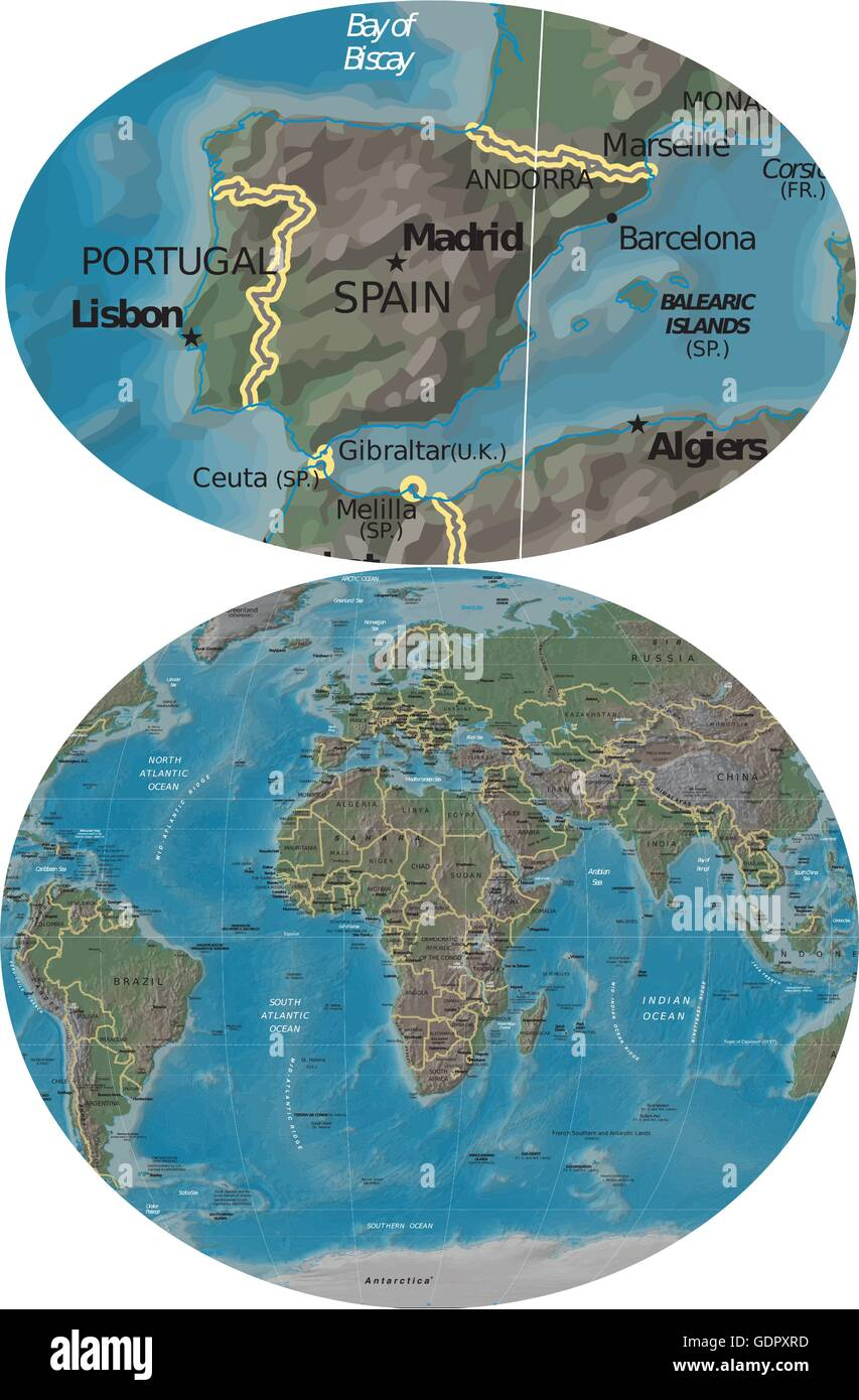 Where Is Spain Located On The World Map : where, spain, located, world, Spain, Portugal, Europe, Africa, Stock, Vector, Image, Alamy