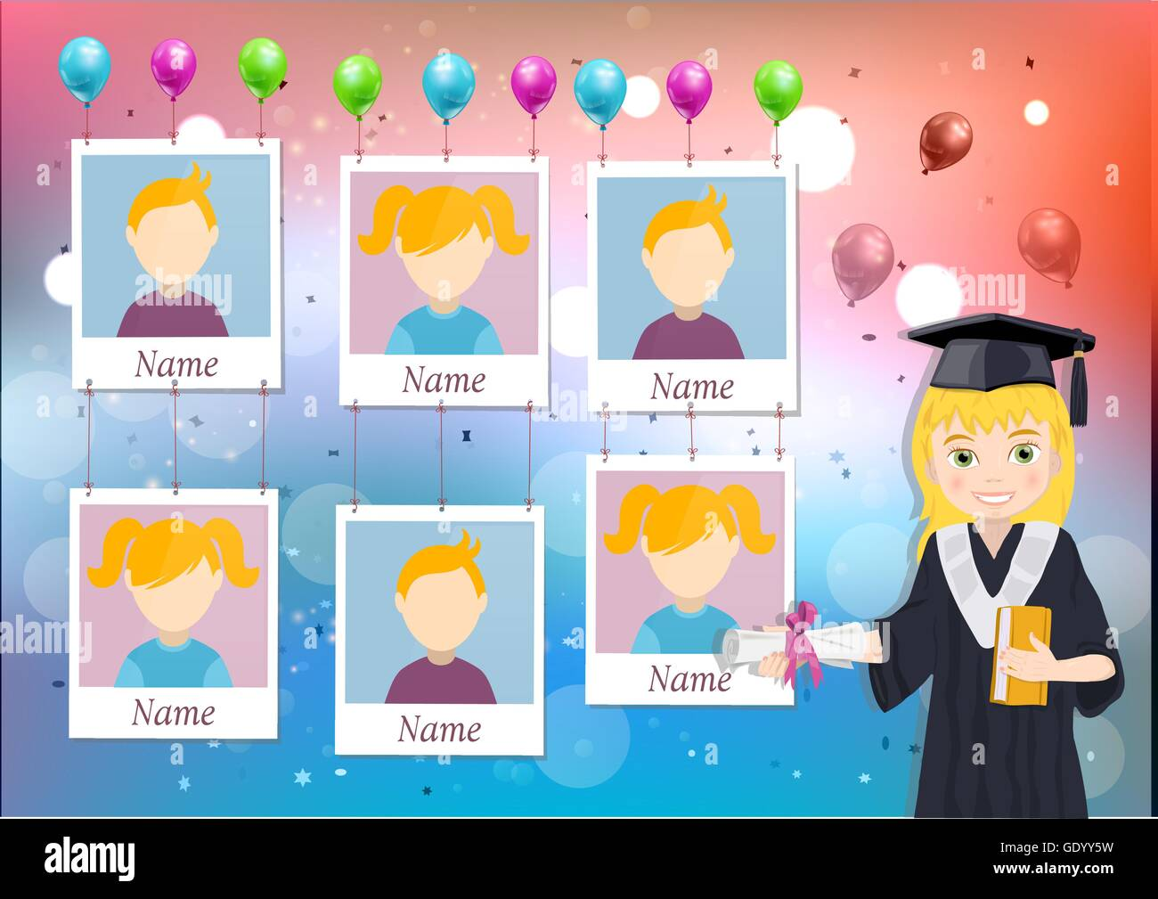 Yearbook For School With Graduate Girl And Six Photos Stock Vector