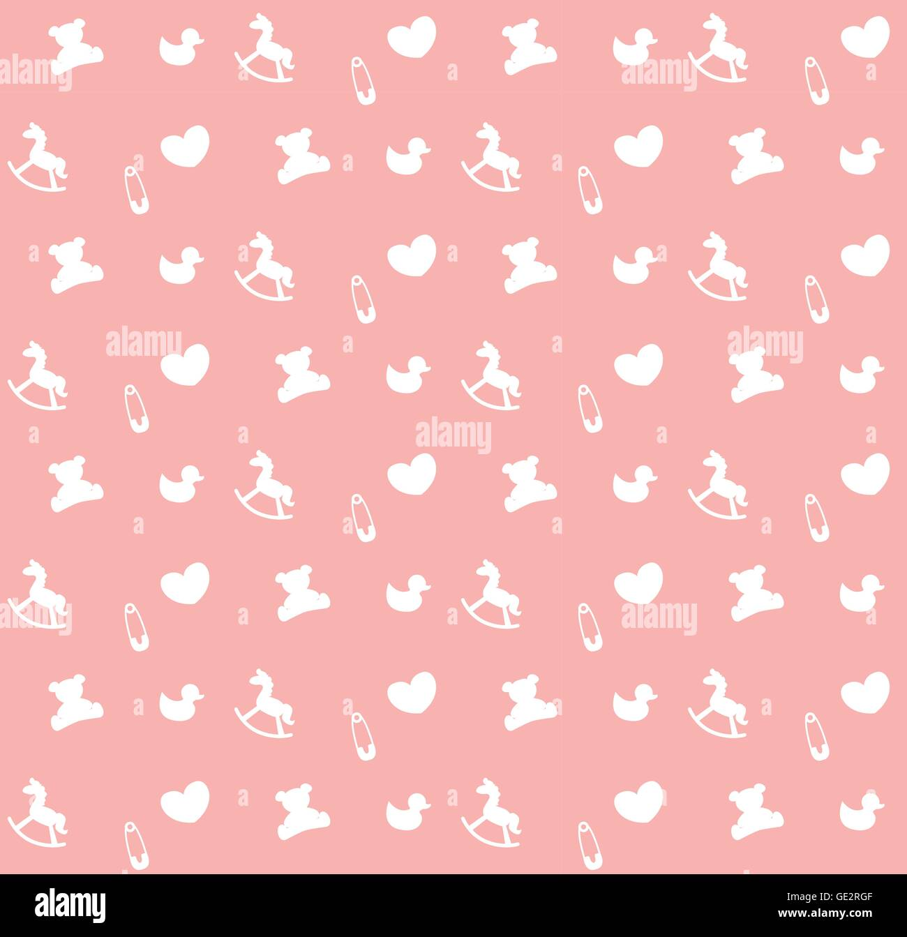 Cute Baby Girl Child Wallpaper Pink Baby Seamless Pattern Background Vector Endless