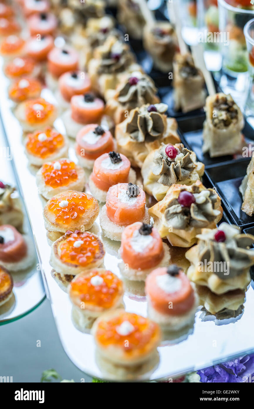 assortment of canapes banquet service stock image