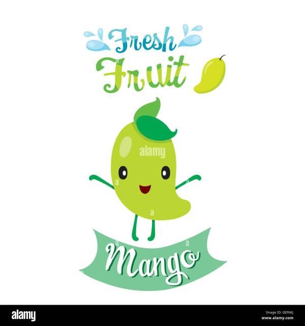 Cute Cartoon Of Mango Fruit Banner Logo Tropical Fruits