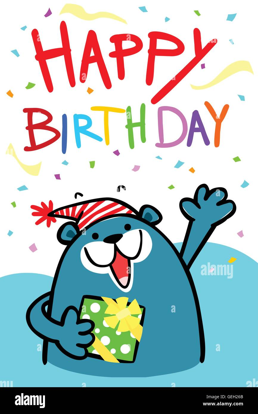 Happy Birthday Cartoon Images : happy, birthday, cartoon, images, Colorful, Happy, Birthday, Cartoon, Vector, Stock, Image, Alamy