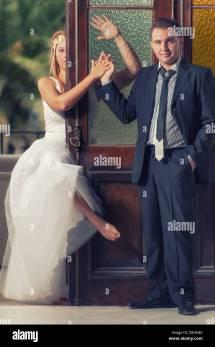 Barefoot Bride Posing Groom In Stock &