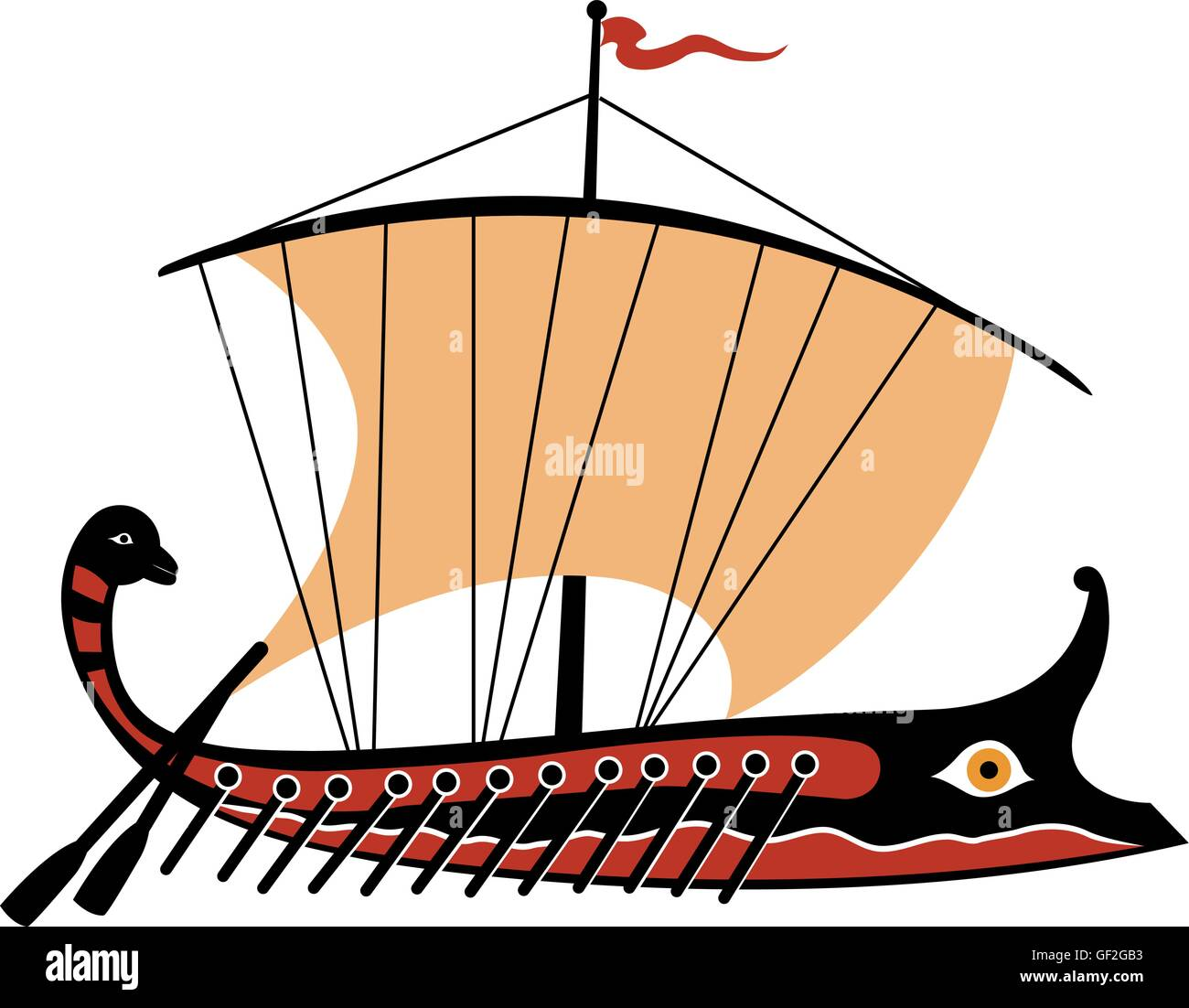 hight resolution of greek trireme ancient ship stock image