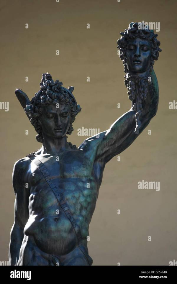 Perseus Holding Head Of Medusa Stock &