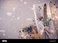 Christmas table place setting, holidays copy space fairy ...