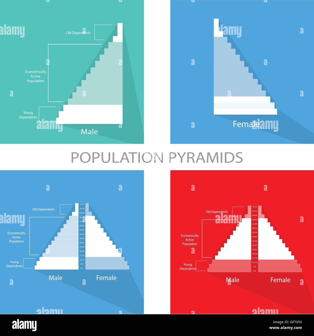 hight resolution of population and demography illustration of detail of population pyramids chart or age structure graph