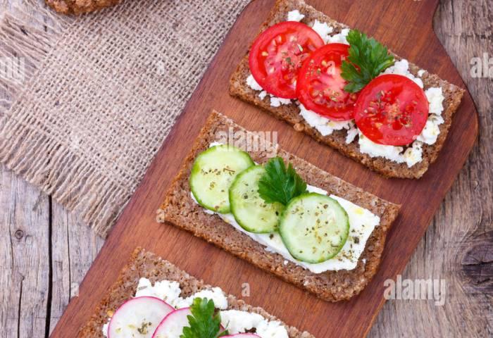 Vegetarian Toast Sandwich With Vegetables Black Breadfeta Stock