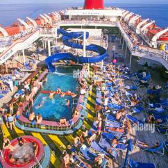 Carnival Cruise Ship Diagram Plug Wiring Uk The Top Deck Of A On Carribean With Lots Passengers Near Pool