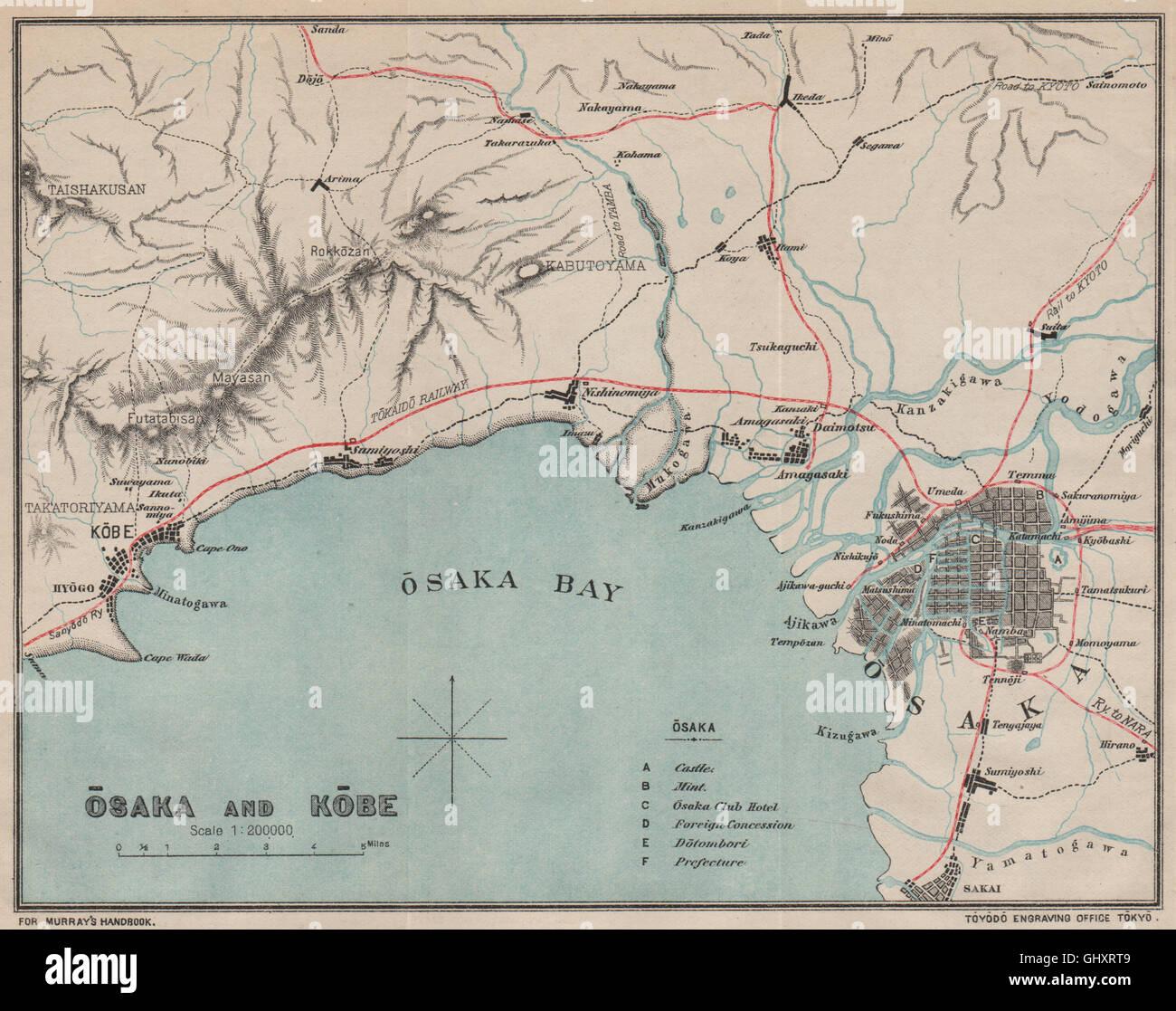 Japan Osaka And Kobe Osaka Bay Murray Antique Map