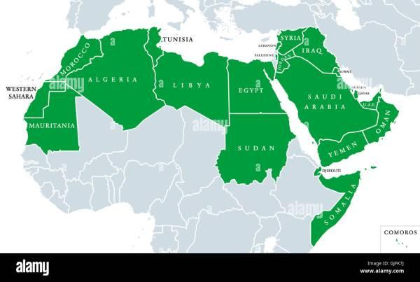 Arab World political map also called Arab nation
