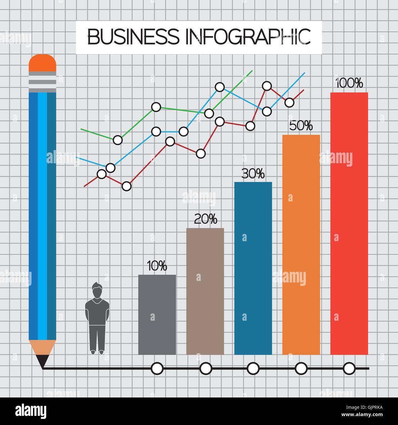 hight resolution of business infographic with icons persons pencil and diagrams flat design digital vector image