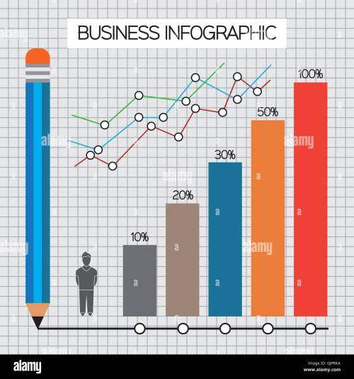 small resolution of business infographic with icons persons pencil and diagrams flat design digital vector image