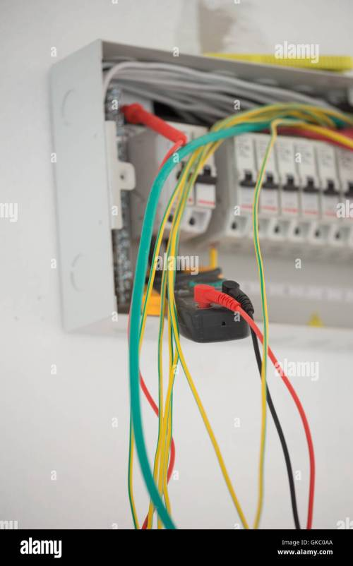 small resolution of electrical measurements in new cabinet with multimeter stock image domestic fuse box