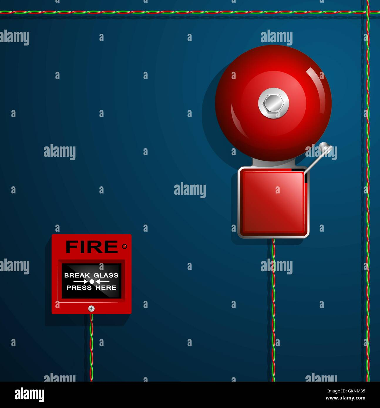 hight resolution of fire alarm on the wall bell button and wires