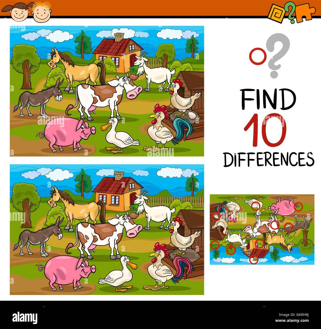 Education Illustration Puzzle Farm Find Cartoon